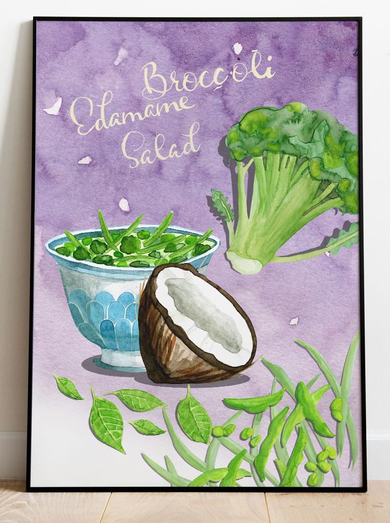 Broccoli Edamame Salat Illustration