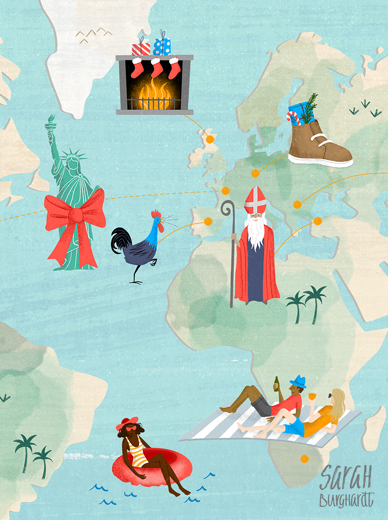 illustrierte Landkarte Christmas Map