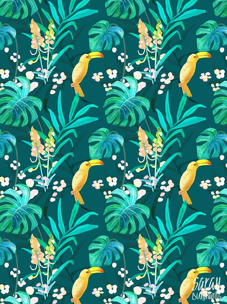 jungle watercolor pattern by sarah Burghardt